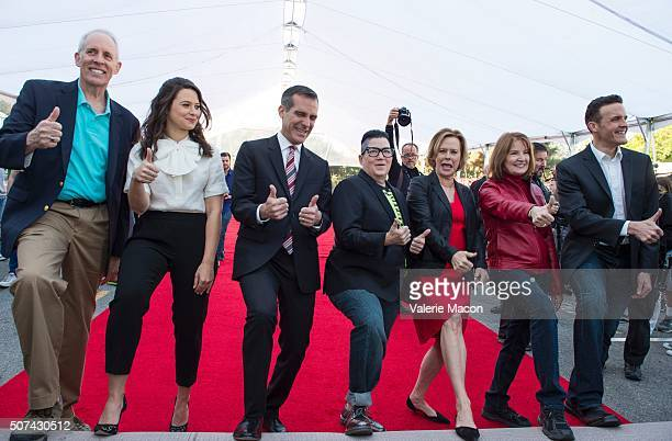SAG Awards Vice Chair Daryl Anderson SAG Awards Executive Producer Kathy Connell Los Angeles Mayor Eric Garcetti actress Lea DeLaria nominee for SAG...