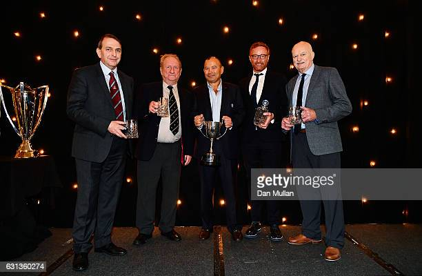 Awards winners Chris Myers Bryan James Eddie Jones Head Coach of England Ben Ryan and Des Seabrook during the Rugby Union Writers' Club Annual Dinner...