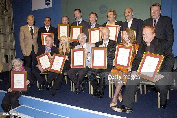 Awards winners including Evelyn Barbirolli OBE Lynsey De Paul Sam Brown and Mike Batt Back row Bill Bailey and Tony Christie