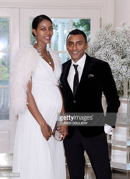 AwardWinning Chef Marcus Samuelsson and his wife model Maya Haile arrive at the state dinner in honor of President of Finland and the Prime Ministers...