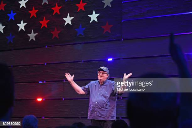 Awardwinning filmmaker Michael Moore celebrates his Broadway Opening Night in 'The Terms of My Surrender' at Belasco Theatre on August 10 2017 in New...