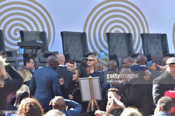 Awardwinning South African and American actress Charlize Theron is seen among other dignitaries during the 16th annual Nelson Mandela lecture at...