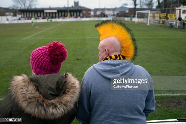 Away supporters watching the second-half action as Atherton Collieries played Boston United in the FA Trophy third qualifying round at the Skuna...