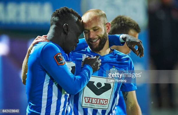 Awer Mabil and Robin Soder of Esbjerg fB celebrate after scoring their first goal during the Danish Alka Superliga match between Esbjerg fB and...