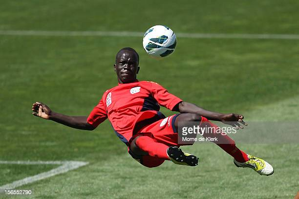 Awer Mabil of Adelaide strikes at goal during the round five Youth League match between Adelaide United and Melbourne Heart at Hindmarsh Stadium on...