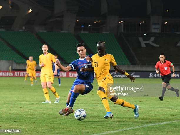 Awer Mabil of Australia dribble during the FIFA World Cup Qatar 2022 and AFC Asian Cup China 2023 Preliminary Joint Qualification Round 2 match...