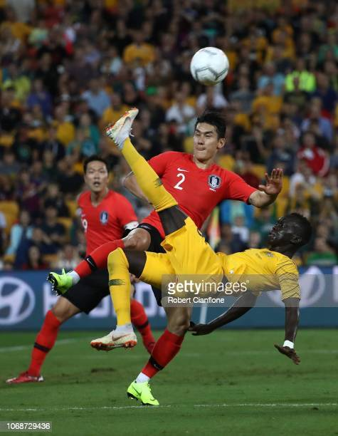 Awer Mabil of Australia perform an overhead kick during the International Friendly match between the Australian Socceroos and Korea Republic at...