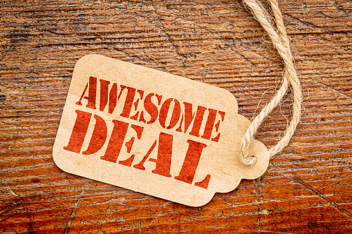 awesome deal sign -  price tag 516265418