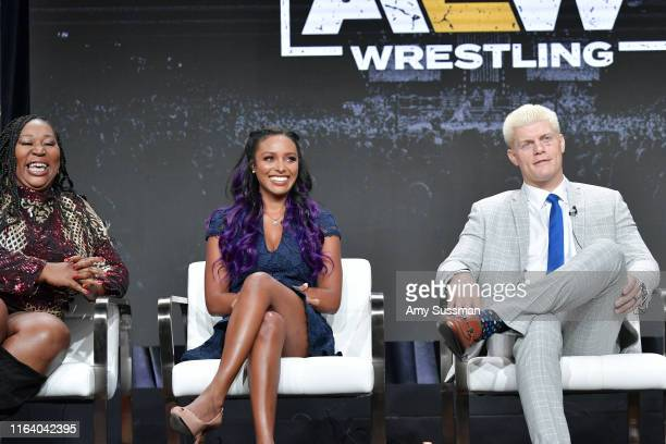 Awesome Kong Brandi Rhodes and Cody Rhodes of All Elite Wrestling speak during the TNT TBS segment of the Summer 2019 Television Critics Association...