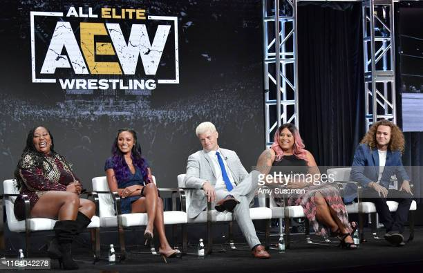 Awesome Kong Brandi Rhodes Cody Rhodes Nyla Rose and Jungle Boy of All Elite Wrestling speak during the TNT TBS segment of the Summer 2019 Television...