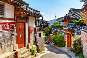 Awesome view of old narrow street and traditional Korean houses