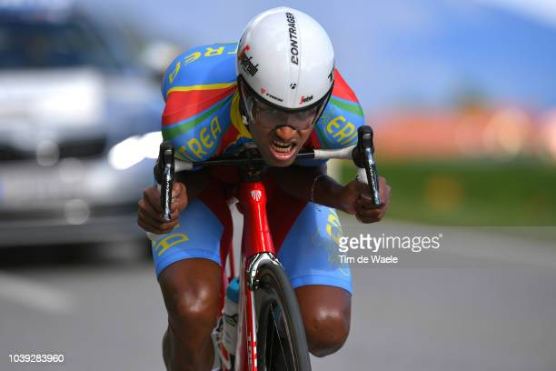Awet Habtom of Eritrea / during the Individual Time Trial Men Under 23 a 278km race from Wattens to Innsbruck 582m at the 91st UCI Road World...