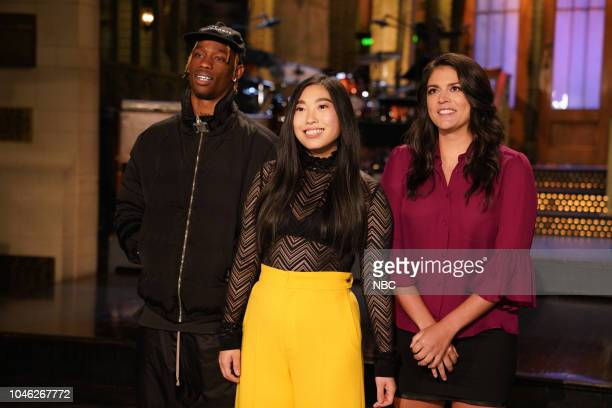 LIVE Awkwafina 1748 Pictured Musical Guest Travis Scott Host Awkwafina Cecily Strong in Studio 8H during a promo