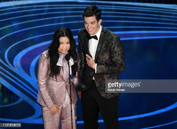 Awkwafina and John Mulaney speak onstage during the 91st Annual Academy Awards at Dolby Theatre on February 24 2019 in Hollywood California