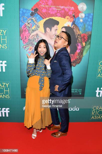 Awkwafina and Nico Santos arrive In Toronto To Celebrate The Release Of Crazy Rich Asians on July 30 2018 in Toronto Canada