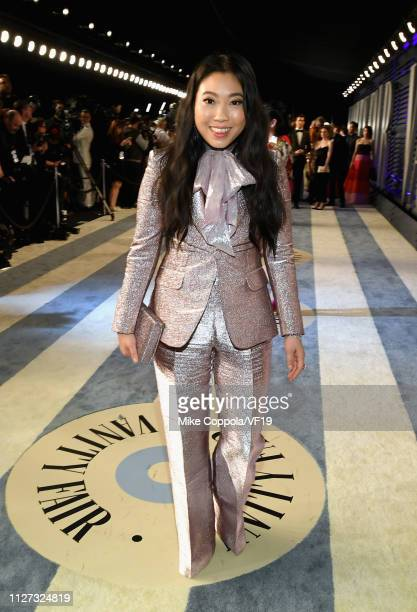 Awkwafina attends the 2019 Vanity Fair Oscar Party hosted by Radhika Jones at Wallis Annenberg Center for the Performing Arts on February 24 2019 in...