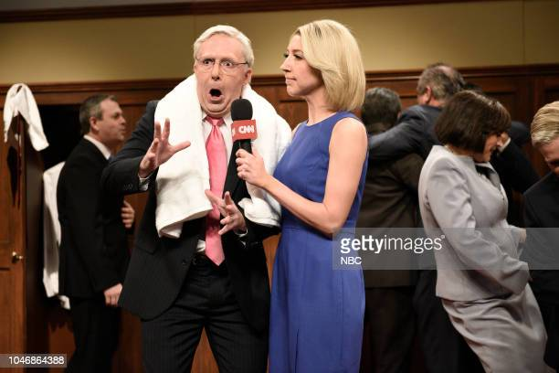 LIVE Awkwafina Episode 1748 Pictured Beck Bennett as Sen Mitch McConnell Heidi Gardner as Dana Bash during Kavanaugh Cold Open in Studio 8H on...