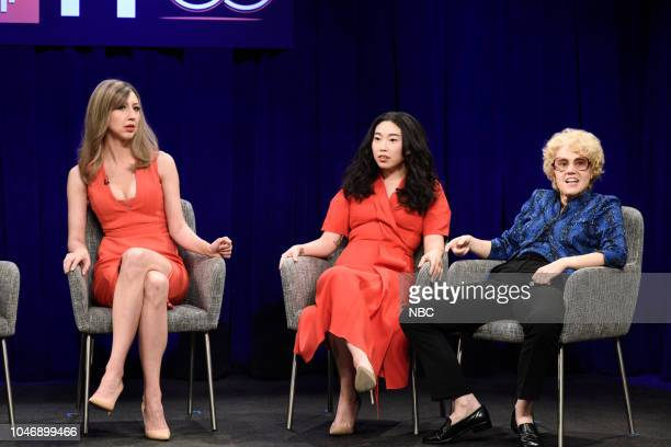 LIVE Awkwafina Episode 1748 Pictured Heidi Gardner as Allison Janney Awkwafina as Sandra Oh Kate McKinnon as Debette Goldry during Film Panel in...