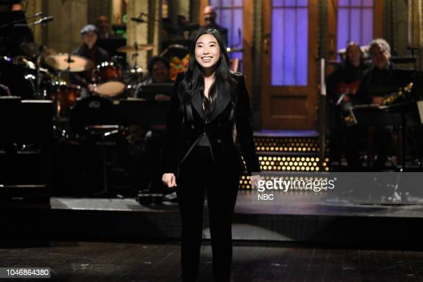 LIVE Awkwafina Episode 1748 Pictured Host Awkwafina during the opening monologue in Studio 8H on Saturday October 6 2018