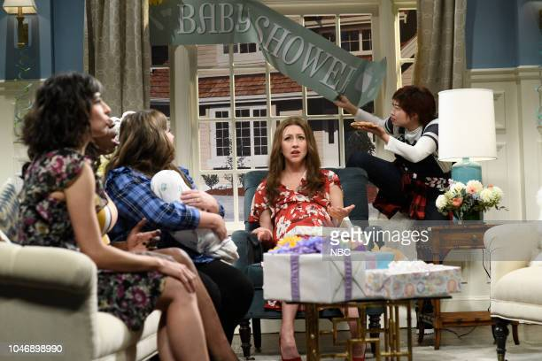 LIVE Awkwafina Episode 1748 Pictured Melissa Villaseñor Leslie Jones Aidy Bryant as Janette Heidi Gardner Awkwafina as DeeDee during Baby Shower in...