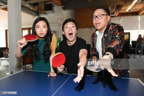 Awkwafina Ken Jeong and Nico Santos touch down in Toronto to celebrate the release of Crazy Rich Asians on July 30 2018 in Toronto Canada