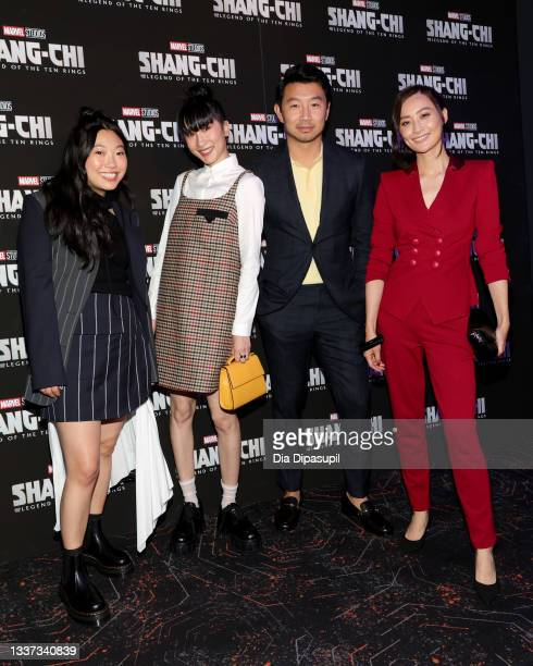 """Awkwafina, Meng'er Zhang, Simu Liu and Fala Chen attend the """"Shang-Chi And The Legend Of The Ten Rings"""" New York Screening at Regal Union Square on..."""