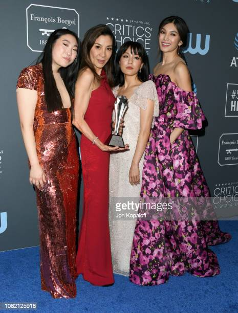 Awkwafina Michelle Yeoh Constance Wu and Gemma Chan winners of Best Comedy Movie for 'Crazy Rich Asians' pose in the press room during the 24th...