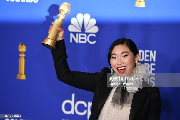 Awkwafina poses in the press room during the 77th Annual Golden Globe Awards at The Beverly Hilton Hotel on January 05 2020 in Beverly Hills...