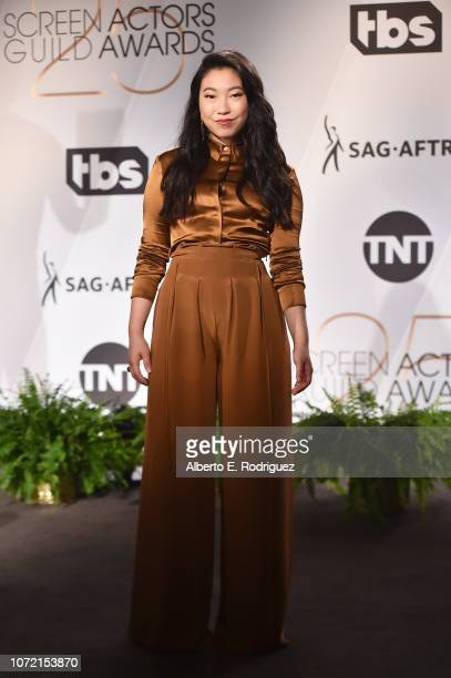 Awkwafina poses onstage during the 25th Annual Screen Actors Guild Awards Nominations Announcement at Pacific Design Center on December 12 2018 in...