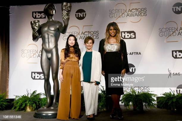 Awkwafina, SAG-AFTRA President Gabrielle Carteris, and Laverne Cox onstage during the 25th Annual Screen Actors Guild Awards Nominations Announcement...