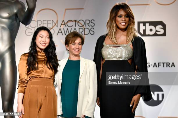 Awkwafina SAGAFTRA President Gabrielle Carteris and Laverne Cox onstage during the 25th Annual Screen Actors Guild Awards Nominations Announcement at...