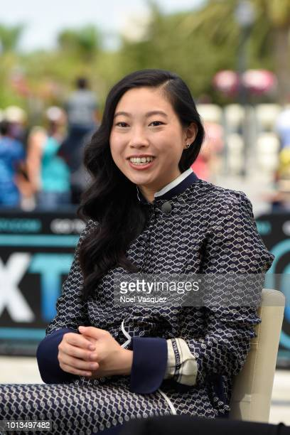Awkwafina visits Extra at Universal Studios Hollywood on August 8 2018 in Universal City California