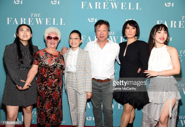 "Awkwafina,Hong Lu, director Lulu Wang, Tzi Ma, Diana Lin and Aoi Mizuhara attend ""The Farewell"" New York Screening at Metrograph on July 08, 2019 in..."