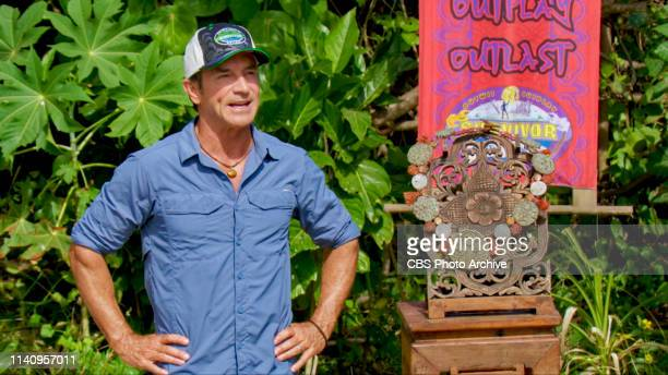 Awkward Jeff Probst on the twelfth episode of SURVIVOR Edge of Extinction airing Wednesday May 1st on the CBS Television Network Image is a screen...
