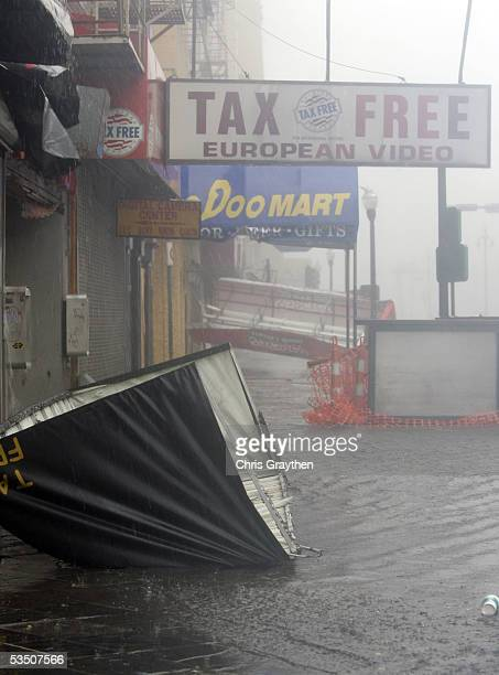 Awnings and water clutter Canal Street during Hurricane Katrina August 29 2005 in New Orleans Louisiana Katrina made landfall this morning as a...