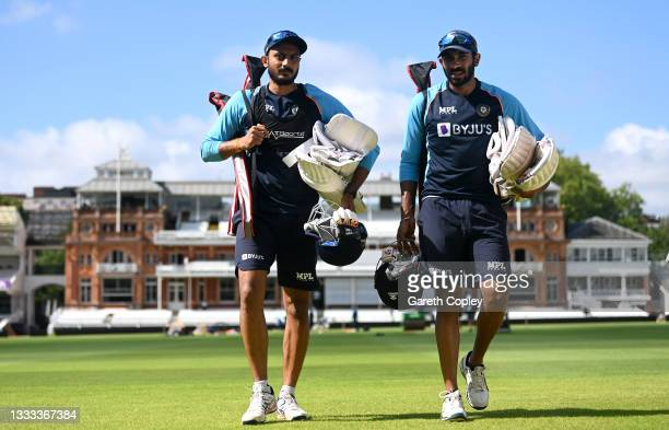 Axar Patel and Jasprit Bumrah of India walk to the nets during a nets session at Lord's Cricket Ground on August 10, 2021 in London, England.