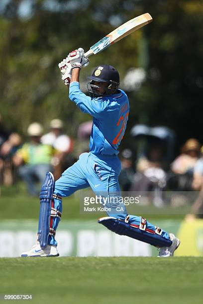 Axar Patel of India A bats during the Cricket Australia via Getty Images Winter Series Final match between India A and Australia A at Harrup Park on...