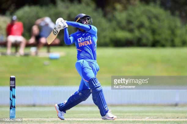 Axar Patel of India A bats during the One Day International between New Zealand XI and India A at Bert Sutcliffe Oval on January 19, 2020 in Lincoln,...