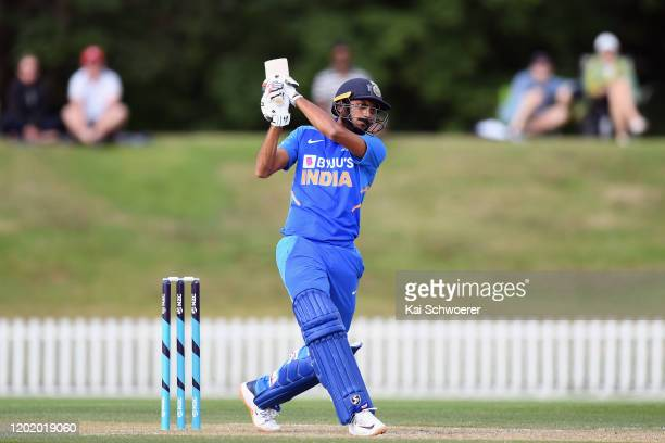 Axar Patel of India A bats during the One Day International match between New Zealand A and India A at Hagley Oval on January 26, 2020 in...