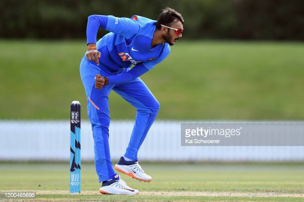 Axar Patel of India A bowls during the One Day International between New Zealand XI and India A at Bert Sutcliffe Oval on January 19, 2020 in...