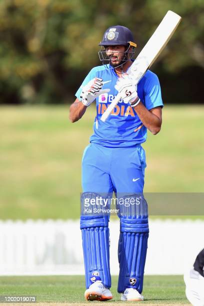 Axar Patel of India A looks on during the One Day International match between New Zealand A and India A at Hagley Oval on January 26, 2020 in...