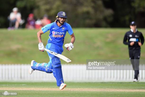 Axar Patel of India A makes a run during the One Day International match between New Zealand A and India A at Hagley Oval on January 26, 2020 in...