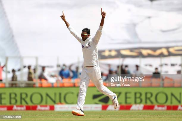 Axar Patel of India celebrates taking thee wicket of Ben Stokes of England during Day Three of the 4th Test Match between India and England at the...