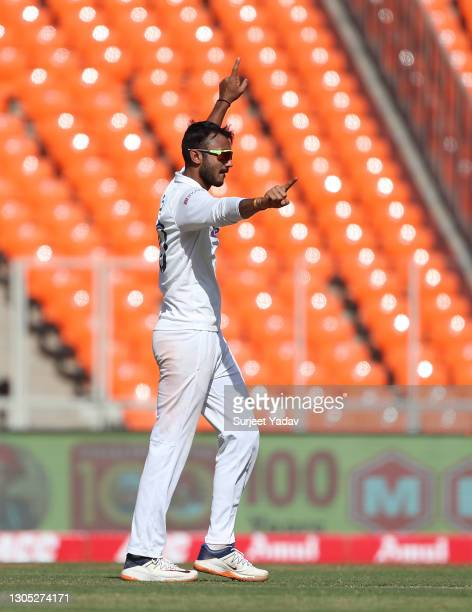 Axar Patel of India celebrates the wicket of Dom Bess of England during Day One of the 4th Test Match between India and England at the Narendra Modi...