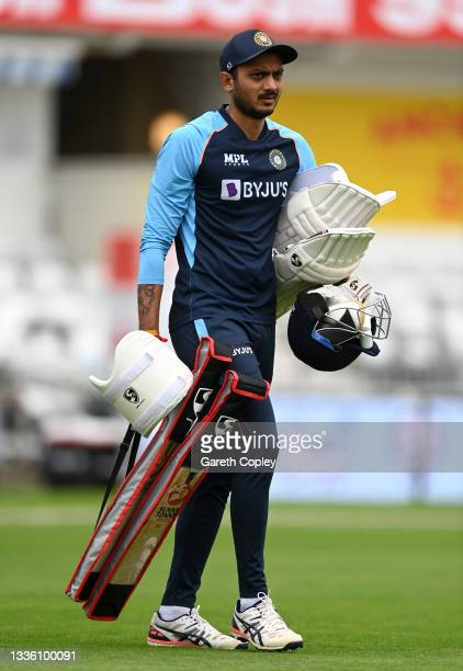 Axar Patel of India during a nets session at Emerald Headingley Stadium on August 24, 2021 in Leeds, England.