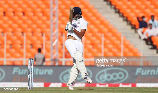 Axar Patel of India hits runs during Day Two of the 4th Test Match between India and England at Sardar Patel Stadium on March 05, 2021 in Ahmedabad,...