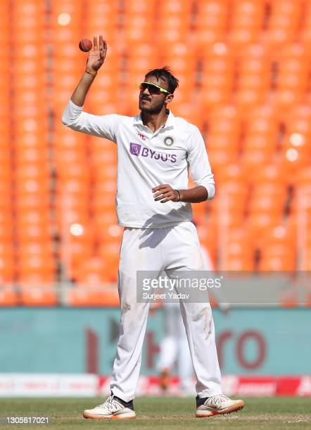 Axar Patel of India looks on during Day Three of the 4th Test Match between India and England at the Narendra Modi Stadium on March 06, 2021 in...