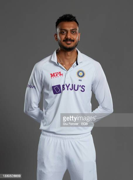 Axar Patel of India poses during a portrait session at the Radisson Blu Hotel on July 23, 2021 in Durham, England.