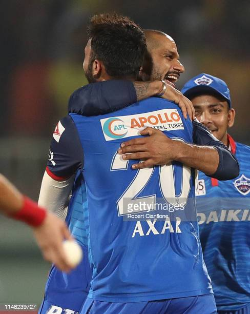 Axar Patel of the Delhi Capitals celebrates taking the wicket of Suresh Raina of the Chennai Super Kings during the Indian Premier League IPL...