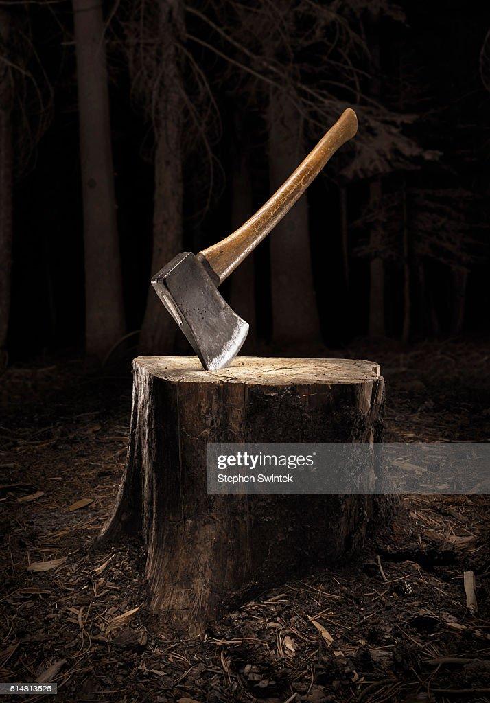 Axe buried into stump in the dark : Stock Photo